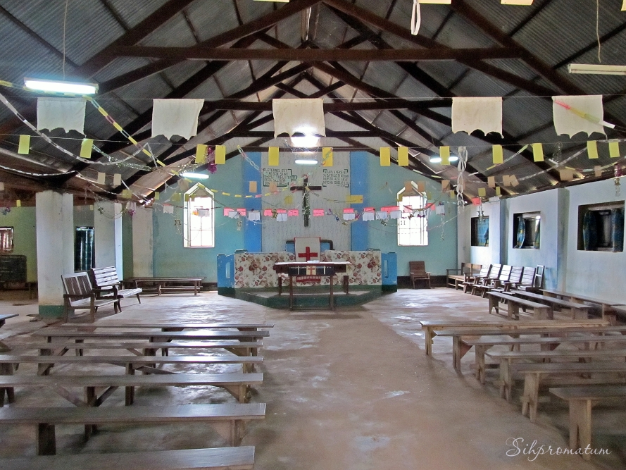 Inside the church at the Mission complex in Gamboula, CAR
