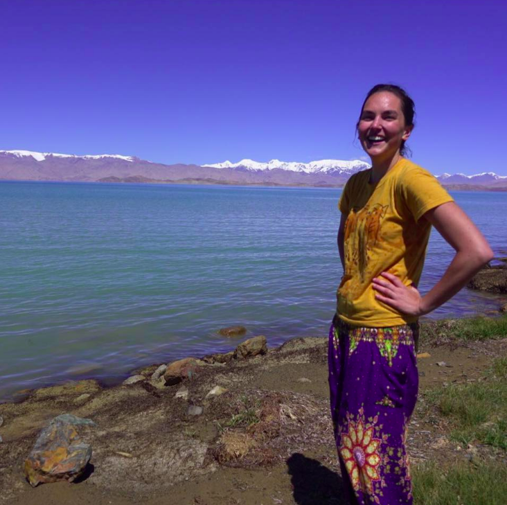 """Caroline after swimming in Lake Karakul, Tajikistan"""