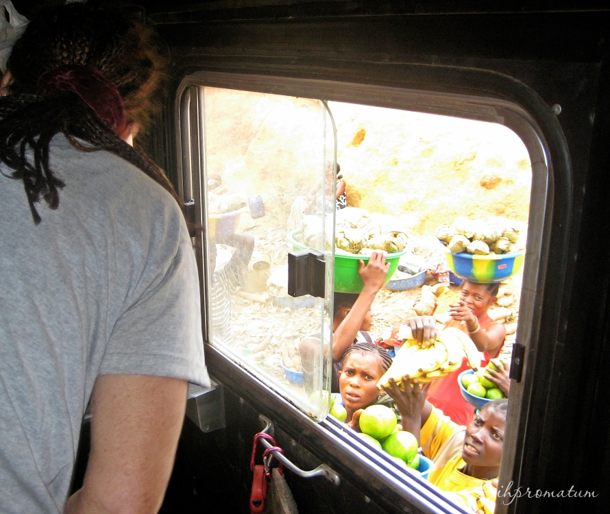 Window shopping as we drive through DRC.