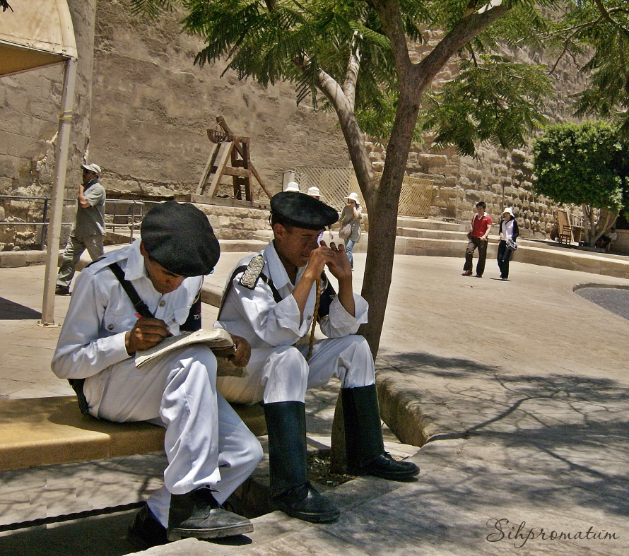 The tourist police taking a break. -Cairo