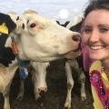 Savannah Grace with new cow friend