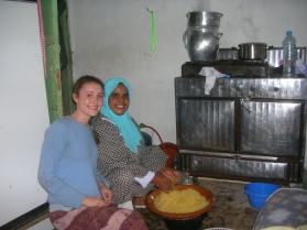 Preparing dinner with host mother in Sale, Morocco.