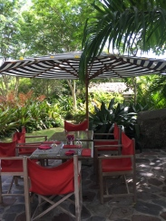 Private dining in the gardens of Golden Rock Inn