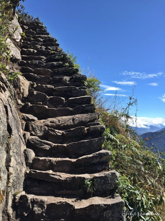 Stairs to view point Machu Pechu