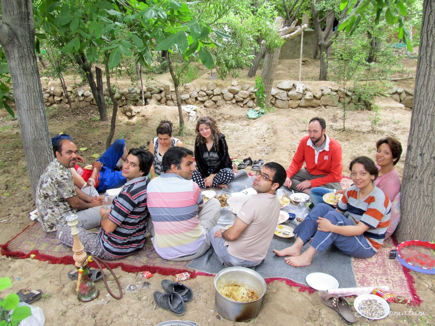 Lunch time with new friends near Yazd