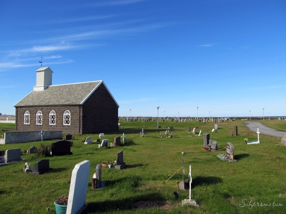 The little church and graveyard is in Keflavik (near the airport)
