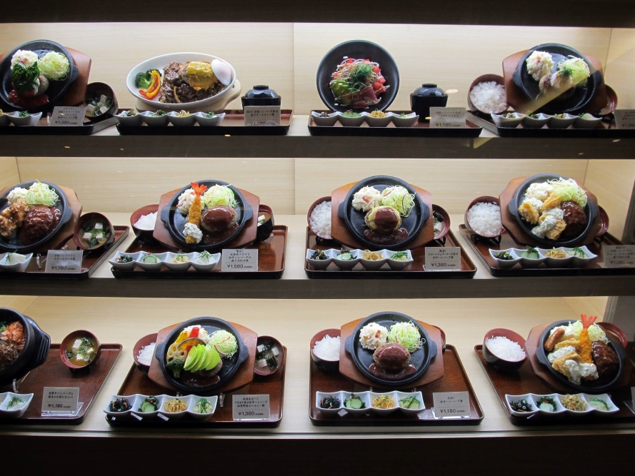 fake food displays outside restaurants are common  Japan