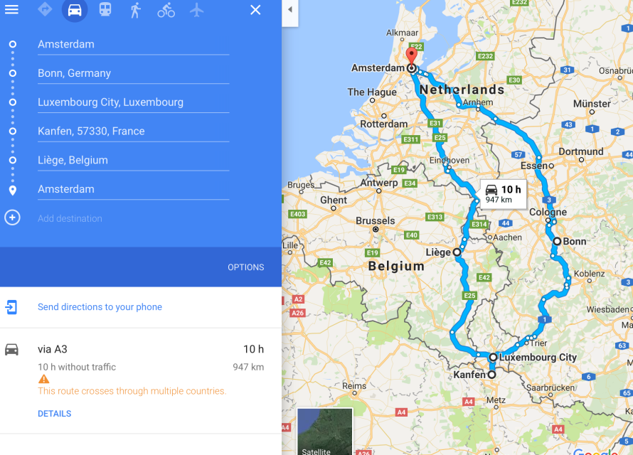 Map Of Germany Luxembourg Belgium.European Road Trip Routes Departure Amsterdam Sihpromatum
